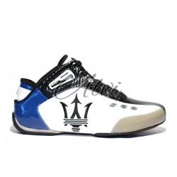 Sneakers Maserati weiss dunkelblau und schwarz knoechelhoch