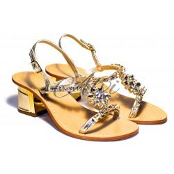 Sandali eleganti platino maxi fiore